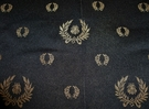 DESIGNER IMPERIAL BEE LAUREL WREATH DAMASK FABRIC BLACK
