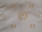 DESIGNER IMPERIAL BEE LAUREL WREATH DAMASK FABRIC CREAM