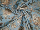 DESIGNER JACOBIE JACOBEAN DAMASK FABRIC BLUE GOLD AMBER CREAM