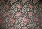 DESIGNER JACOBIE JACOBEAN DAMASK FABRIC  BROWN JADE BURGUNDY ROSE