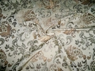 DESIGNER JACOBIE JACOBEAN DAMASK FABRIC FRENCH VANILLA SLATE GOLD CREAM