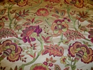 DESIGNER SYDNEY JACOBEAN DAMASK FABRIC CREAM FUSCHIA JADE LEAF ROSE