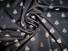 ELEGANT NEOCLASSICAL BEE DAMASK FABRIC BLACK BEIGE