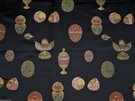 GORGEOUS FABERGE EGGS WOVEN DAMASK ITALIAN FABRIC 10 YARDS JEWEL ONYX RUBY GOLD