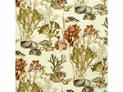 KRAVET COUTURE UNDERSEA COTTON FABRIC BEIGE BROWN ORANGE