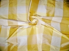 KRAVET GP J BAKER AUDREY SILK CHECK TAFFETA FABRIC 30 YARD BOLT YELLOW  GOLD CREAMISH IVORY
