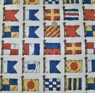 LEE JOFA KRAVET BB SAILING NAUTICAL FLAGS TOILE FABRIC WHITE BLUE