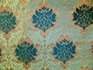 MAGNIFICENT ACANTHUS MEDALLION DAMASK FABRIC AQUA SAPPHIRE