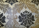 MAGNIFICENT ACANTHUS MEDALLION DAMASK FABRIC SILVER