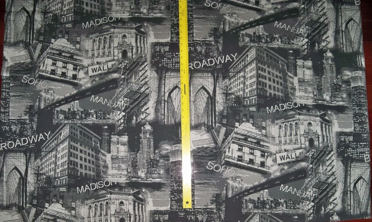 NEW YORK WALL STREET MANHATTAN SOHO COTTON TOILE FABRIC BLACK GRAY