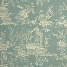 SCALAMANDRE TREASURES OF THE CHINESE SCHOLAR SILK LAMPAS FABRIC TURQUOISE