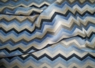 SILK LOOM SOHO CHEVRON ZIG ZAG DAMASK FABRIC NAVY BLUE OYSTER SILVER