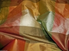STROHEIM KALIEDOSCOPE SILK CHECK FABRIC 15.5 YARDS ROSE CELADON GOLD IVORY MULTI