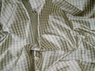 TAPESTRIA FRENCH COUNTRY GINGHAM CHECK SILK FABRIC FRENCH BLUE CREAM