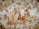 TRAVERS BERGERE ROMANTIC FRAGONARD TOILE 4 YARD REMNANT WHITE / GOLD BEIGE
