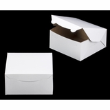 "1210 - 8"" x 8"" x 4"" White/Brown Without Window Lock & Tab Box With Lid"