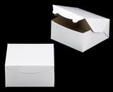 "1210 - 8"" x 8"" x 4"" White/Brown Without Window Lock & Tab Box With Lid. A21"