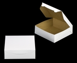 "1213 - 9"" x 9"" x 3"" White/Brown Lock & Tab Box without Window"
