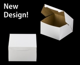 """1220 - 10"""" x 10"""" x 6"""" White/Brown without Window, Lock & Tab Box With Lid"""