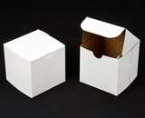 "1411 - 4"" x 4"" x 4"" White/Brown without Window, One Piece Lock & Tab Box With Lid. B11"