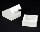 "1474 - 6"" x 6"" x 2 1/2"" White/White with Window, Timesaver Box With Lid. A10"