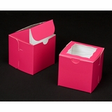 "1829 - 4"" x 4"" x 4"" Pink/White with Window, One Piece Lock & Tab Box With Lid"