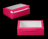 "1830 - 14"" x 10"" x 4"" Pink/White Lock & Tab Quarter Sheet Cake Box with Window"