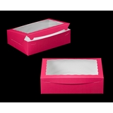"1830 - 14"" x 10"" x 4"" Pink/White with Window, Lock & Tab Box With Lid"
