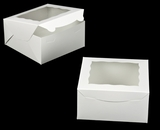 "1848 - 8"" x 8"" x 4"" White/White with Window, Lock & Tab Box with Lid. A21"