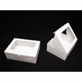 "1854 - 12"" x 9"" x 4"" White/White with Window, Lock & Tab Box With Lid"
