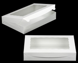 "1856 - 14"" x 10"" x 2 1/2"" White/White with Window, Lock & Tab Box With Lid. A25"