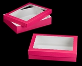 "1871x1835 - 19"" x 14"" x 4"" Pink/White Lock & Tab Half Sheet Cake Box Set with Window, 50 COUNT"