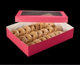 "1871x1835 - 19"" x 14"" x 4"" Pink/White Two Piece Lock & Tab Donut Box Set with Window, 50 COUNT"