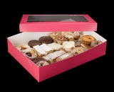 "1871x1835 - 19"" x 14"" x 4"" Pink/White Two Piece Lock & Tab Pastry Box Set with Window, 50 COUNT"
