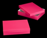 "1871x3245 - 19"" x 14"" x 4"" Pink/White Lock & Tab Half Sheet Cake Box Set without Window, 50 COUNT"