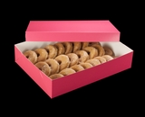 """1871x3245 - 19"""" x 14"""" x 4"""" Pink/White Two Piece Lock & Tab Donut Box Set without Window, 50 COUNT"""