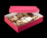 "1871x3245 - 19"" x 14"" x 4"" Pink/White Two Piece Lock & Tab Pastry Box Set without Window, 50 COUNT"