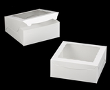 "1892 - 10"" x 10 ""x 4"" White/White with Window, One Piece Lock & Tab Box With Lid. A26"
