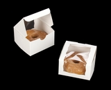 "2026 - 4"" x 4"" x 2 1/2"" White/White Lock & Tab Individual Donut Box with Wraparound Window"