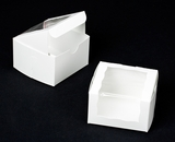 "2026 - 4"" x 4"" x 2 1/2"" White/White with Wraparound Window Lock & Tab Box With Lid"