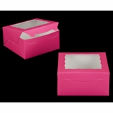 "2029 - 8"" x 8"" x 4"" Pink/White with Window, Lock & Tab Box with Lid"