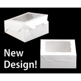 """2040 - 6"""" x 6"""" x 2 1/2"""" White/White with Window, Lock & Tab Box With Lid"""