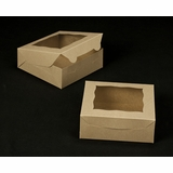 "2043 - 7"" x 7"" x 2 1/2"" Brown/Brown with Window, Lock & Tab Box with Lid"