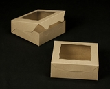 """2043 - 7"""" x 7"""" x 2 1/2"""" Brown/Brown with Window, Lock & Tab Box with Lid"""