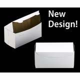 "2047 - 8"" x 4"" x 4"" White/Brown without Window, One Piece Lock & Tab Box With Lid"