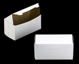 """2047 - 8"""" x 4"""" x 4"""" White/Brown without Window, One Piece Lock & Tab Box With Lid"""
