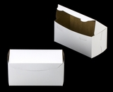 "2047 - 8"" x 4"" x 4"" White/Brown without Window, One Piece Lock & Tab Box With Lid. A14"