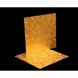 206 - 8 inch Cake Board, Square Gold Foil Single Wall Corrugated