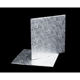 207 - 8 inch Cake Board, Square Silver Foil Single Wall Corrugated