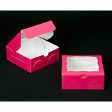 "2097 - 6"" x 6"" x 2 1/2"" Pink/White with Window, Lock & Tab Box With Lid"